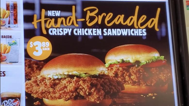 Burger King menu with new crispy chicken sandwich