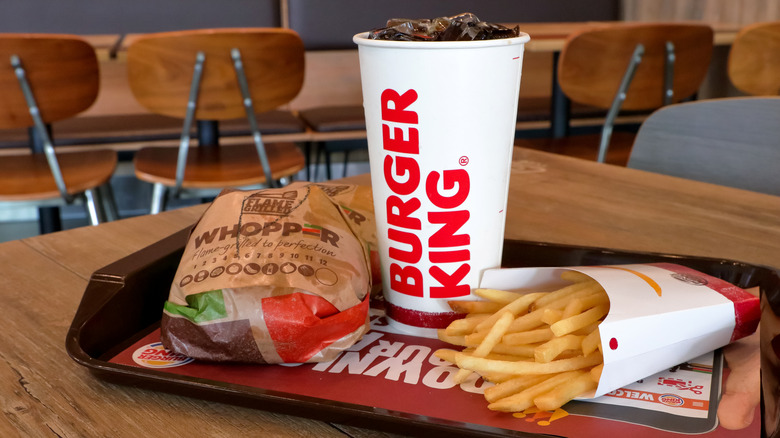 Burger King meal on table