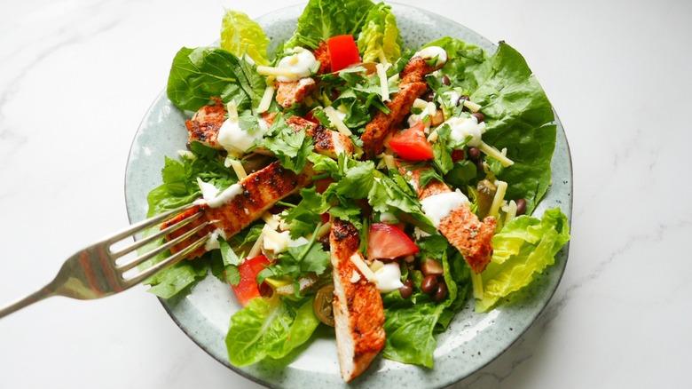 Cajun chicken salad in bowl