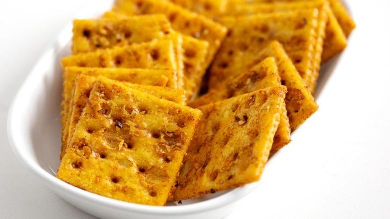 Cajun firecracker crackers in a bowl