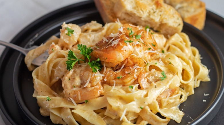 Cajun shrimp pasta alfredo, plated