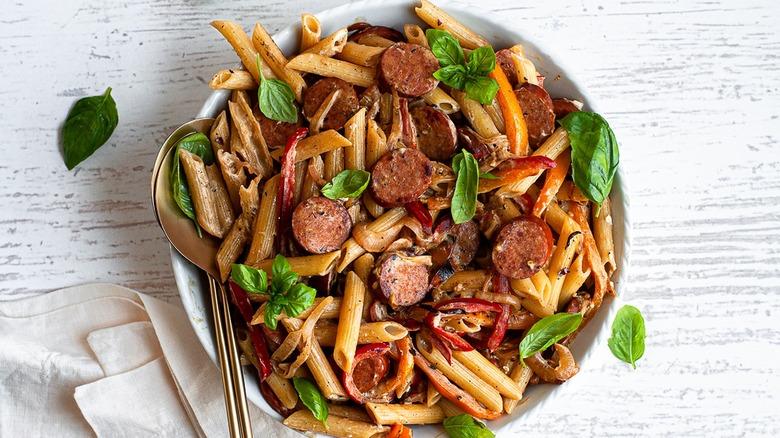 bowl of Cajun smoked sausage pasta