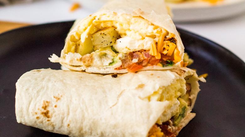 breakfast burrito served on plate