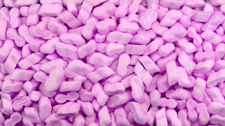 Purple packing peanuts