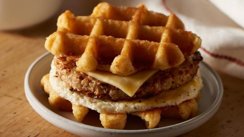 Caribou Coffee Maple Waffle Breakfast Sandwich