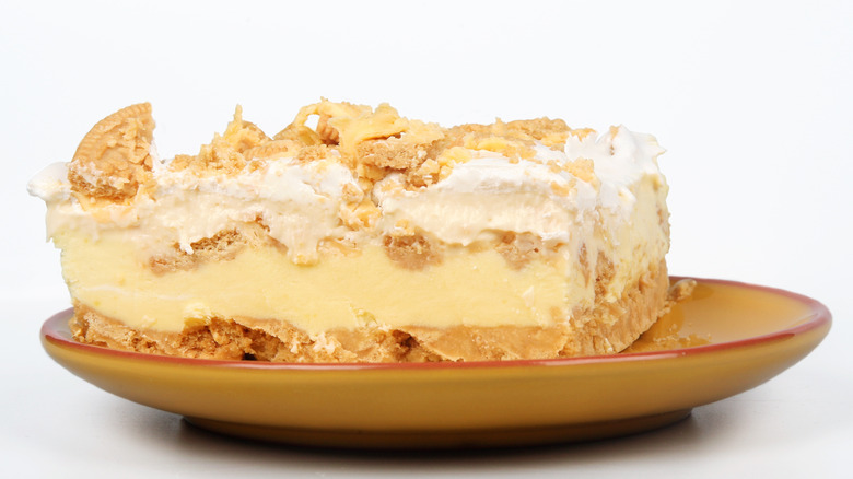 Lemon ice box cake on a plate