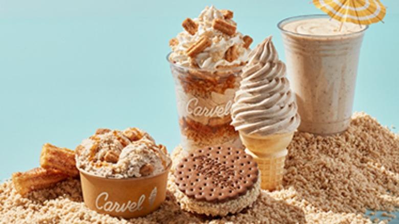 Carvel churro ice cream cup, cone, sandwich, and shake