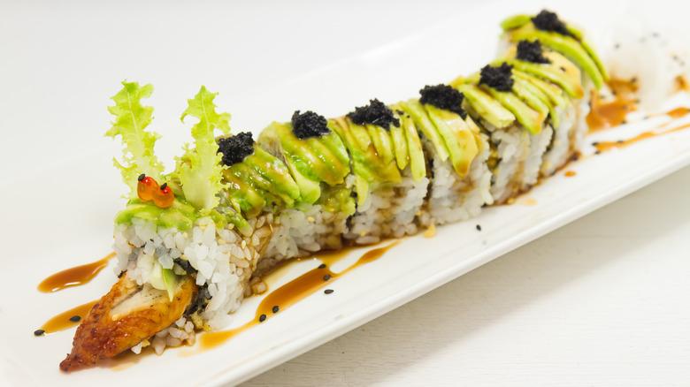 Plated caterpillar sushi roll