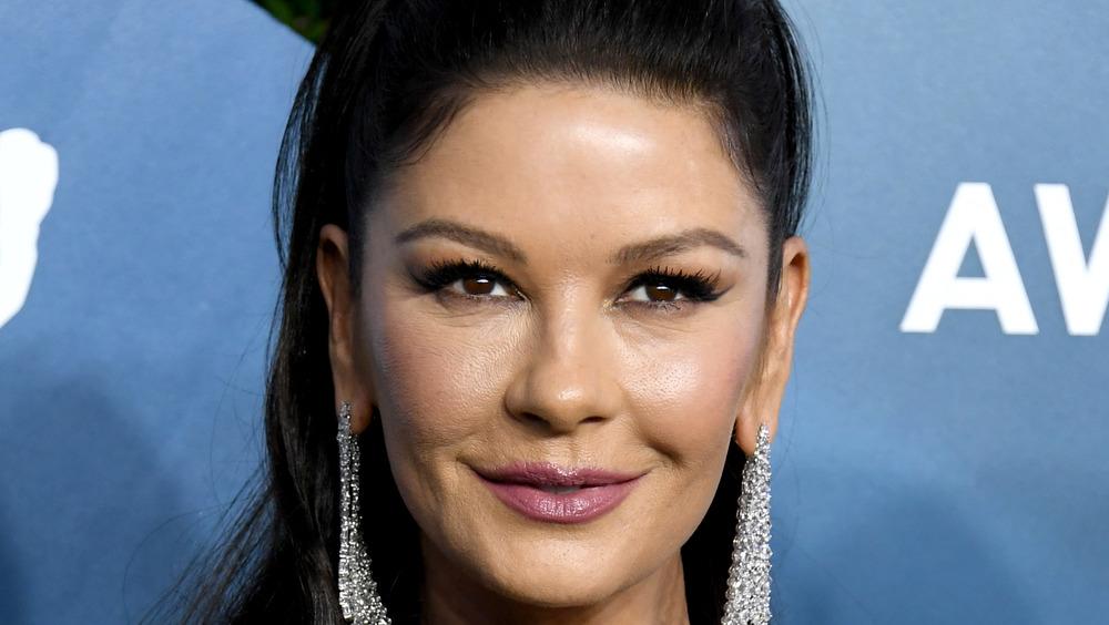 Catherine Zeta-Jones in silver earrings