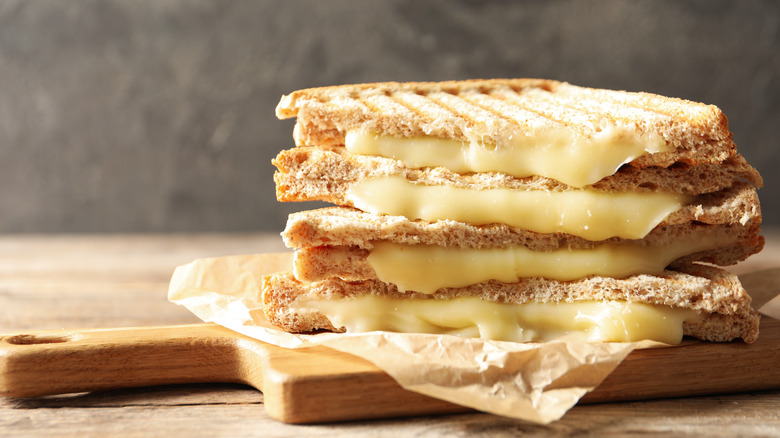 close up grilled cheese
