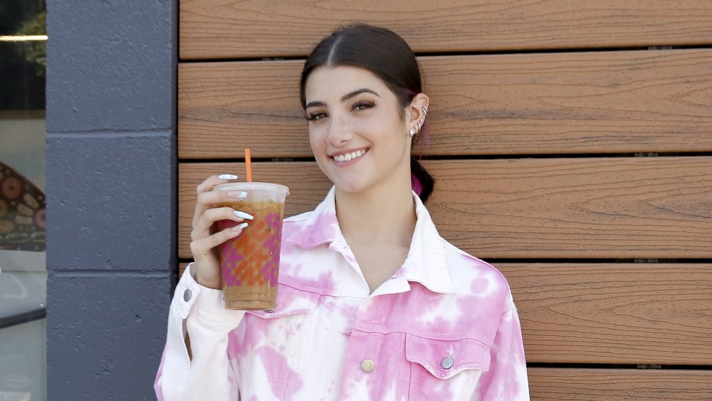 Charli D'Amelio with her Dunkin' drink