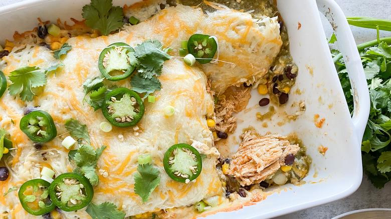 cheesy burrito casserole in dish