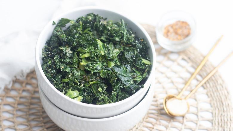 seasoned kale chips in a bowl