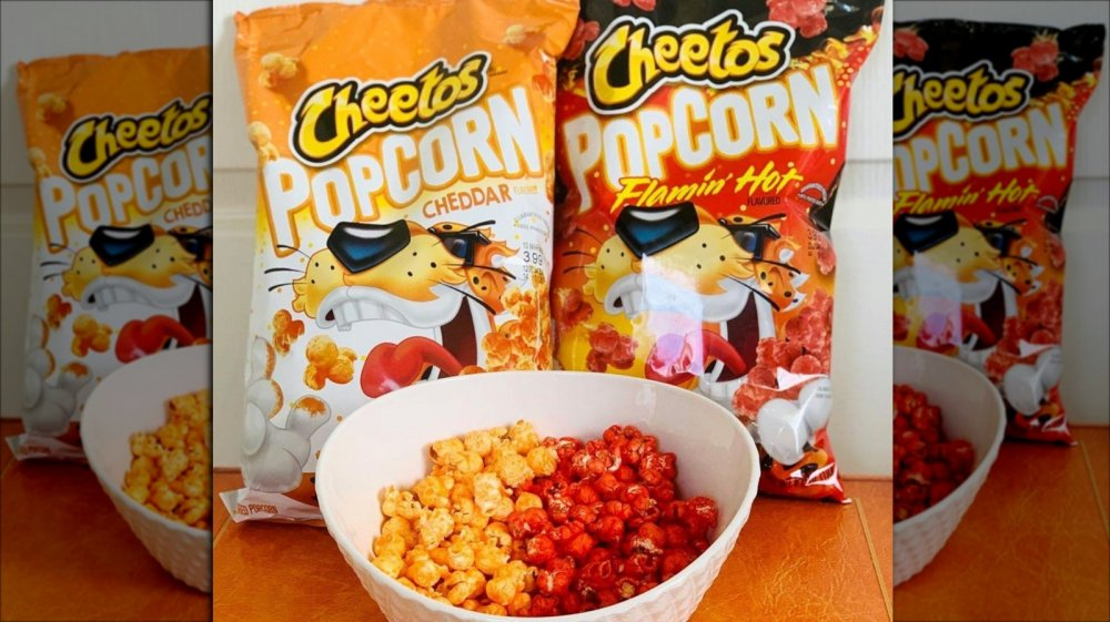 Cheetos popcorn in two flavors