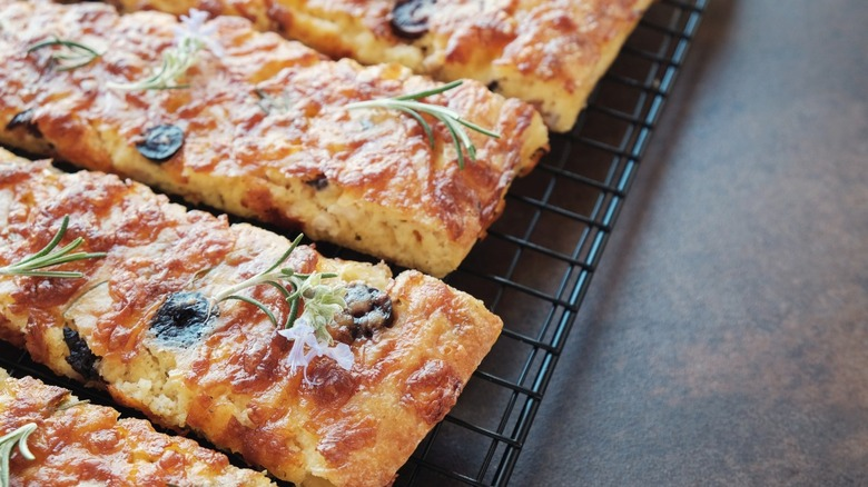 Keto cheese bread on cooling rack