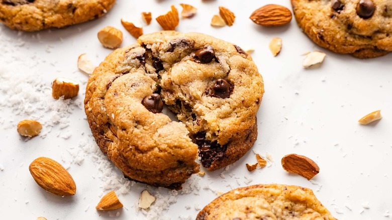 cookie on counter with almonds