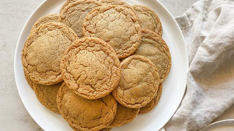 Chewy Molasses Spice Cookies on a plate