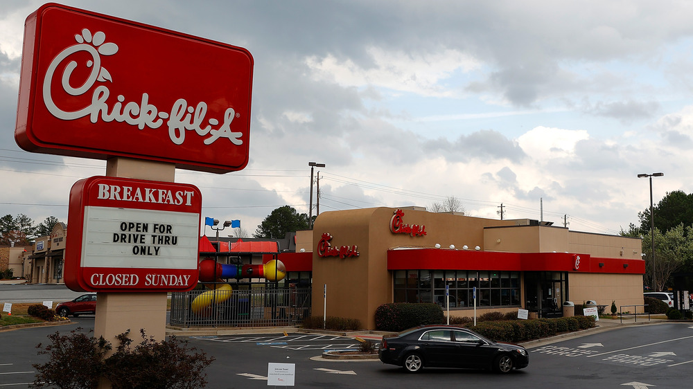 Chick-fil-A building and parking lot