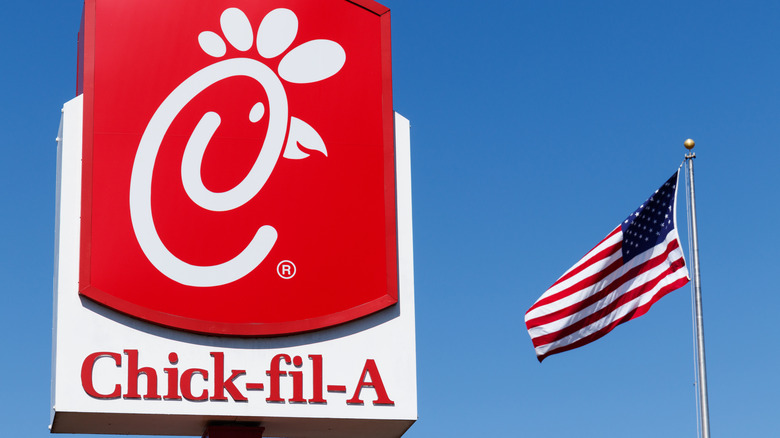Chick-fil-A sign against blue sky