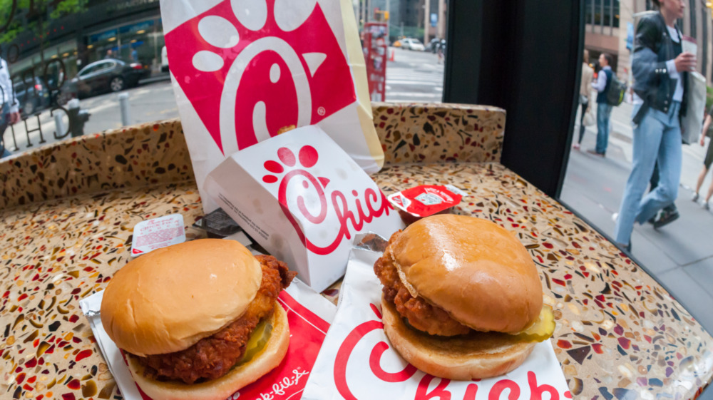 Chick-fil-A chicken sandwiches on a countertop