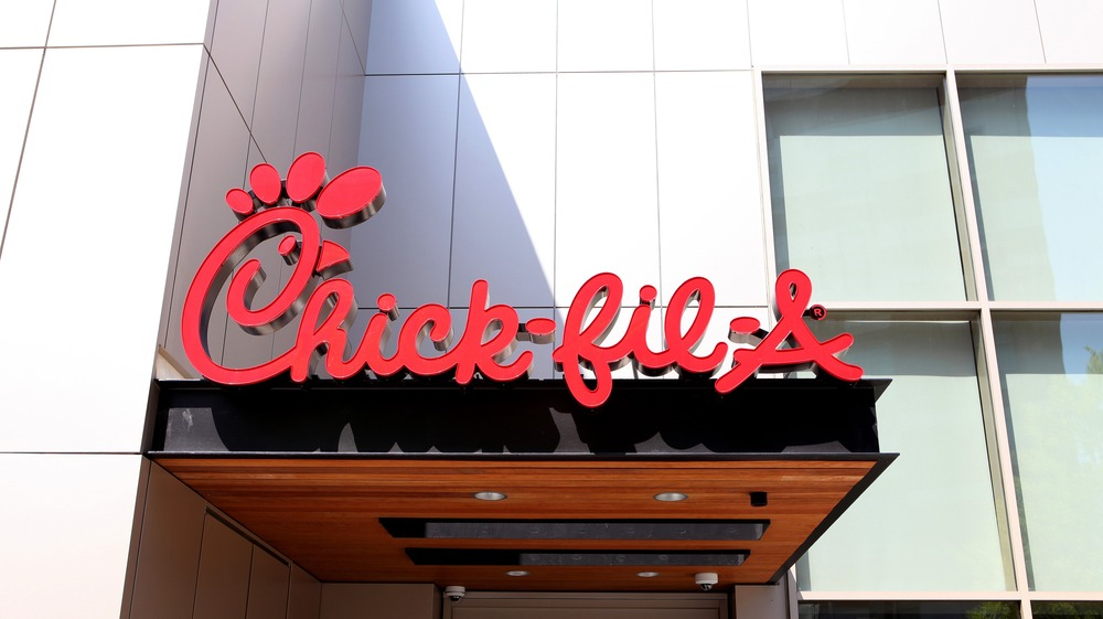 Chick-fil-A sign above door