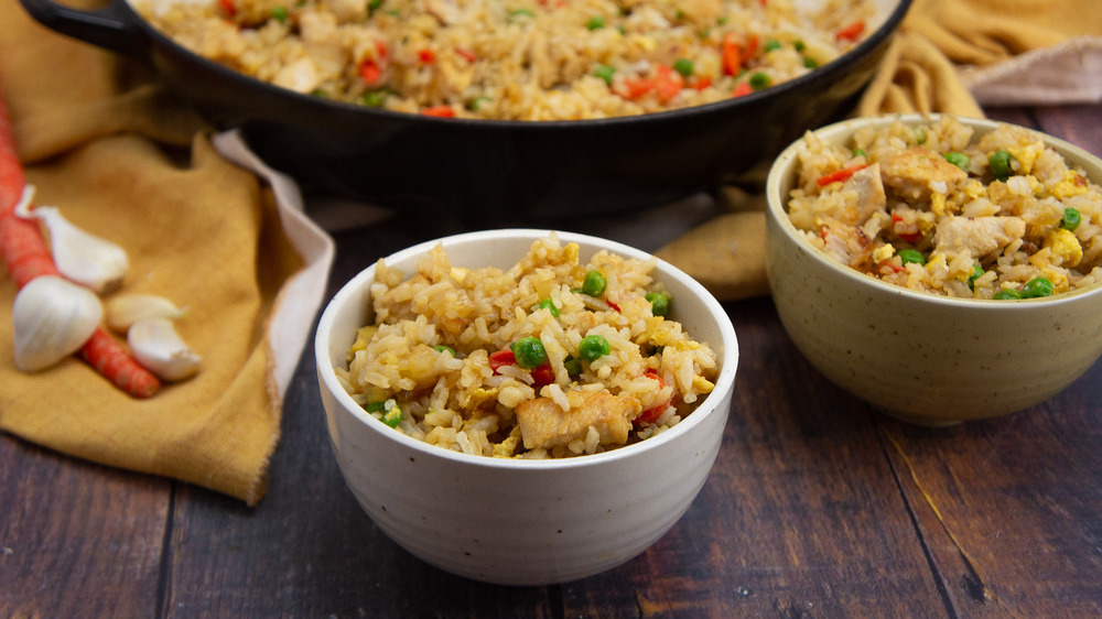chicken fried rice served up
