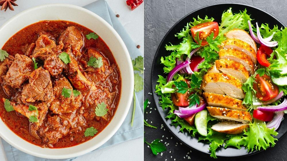 Lamb dish and chicken dish