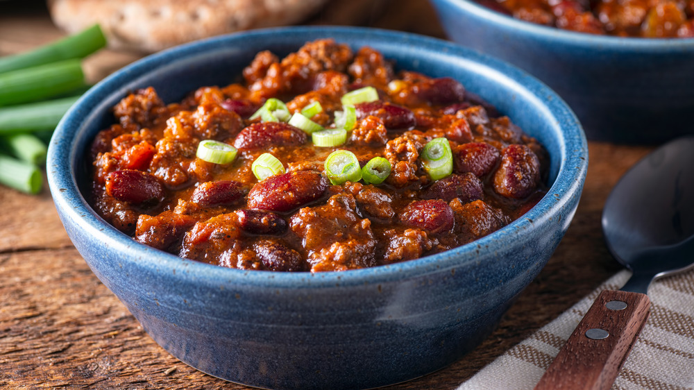 bowl of homemade beef and bean chili