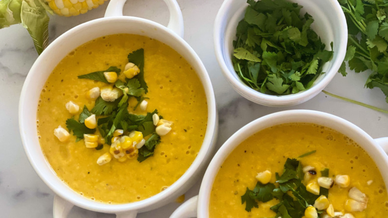 Chilled Sweet Corn Soup on a table