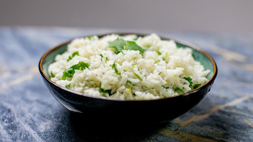 cilantro lime rice recipe on display