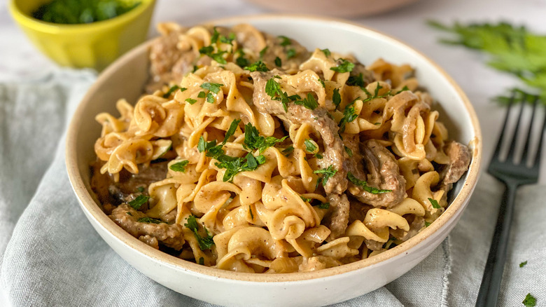 beef stroganoff in a bowl