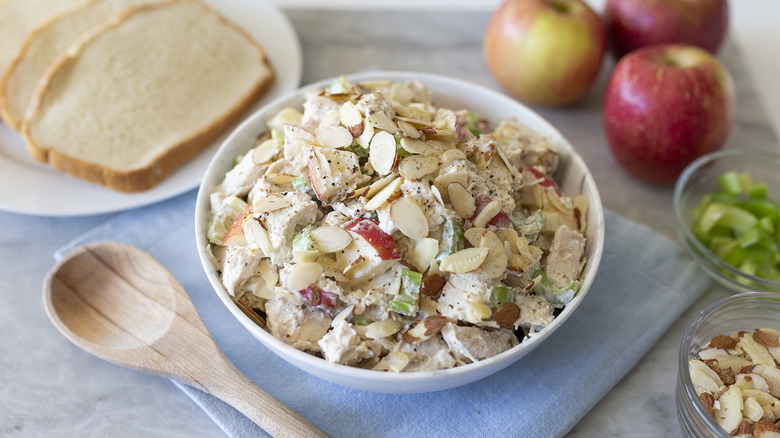 Classic chicken salad recipe with a twist in bowl