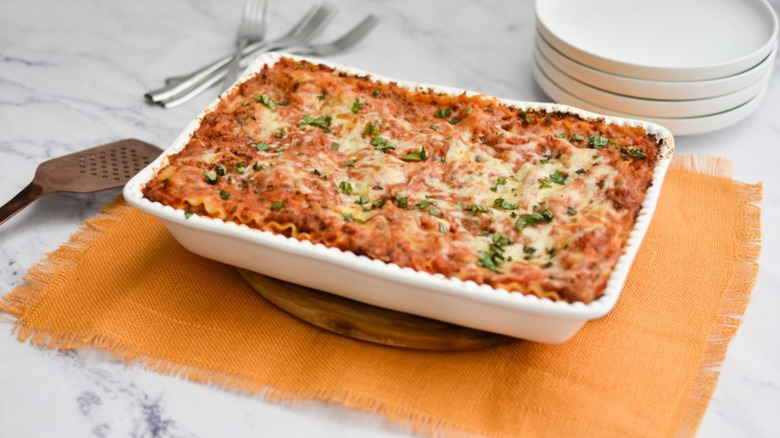 A dish of lasagna ready for serving