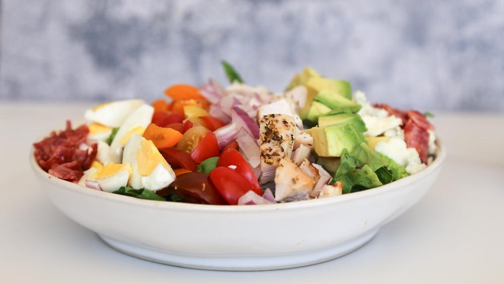 cobb salad recipe arranged in bowl
