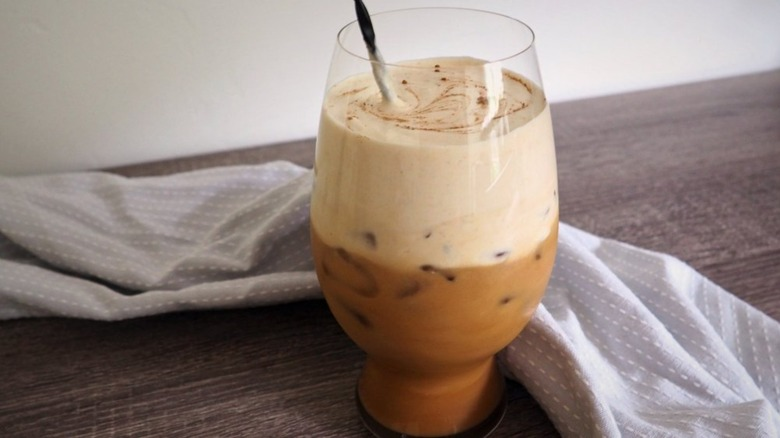 Glass of pumpkin spice latte cold brew