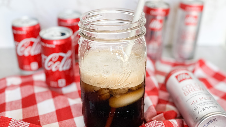 cold brew cola in jar
