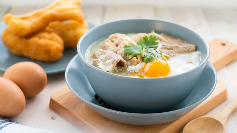 Congee in a blue bowl