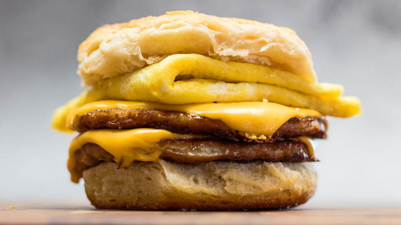 A Copycat Burger King Double Sausage, Egg, & Cheese Biscuit served on a counter