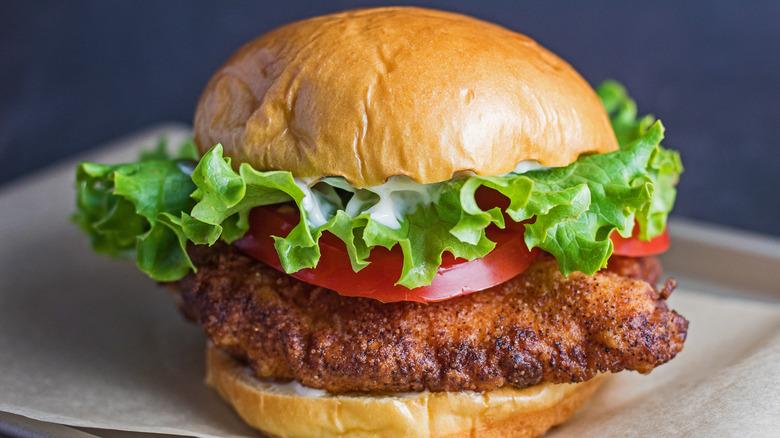 Copycat Burger King Spicy Crispy Chicken Sandwich on a counter