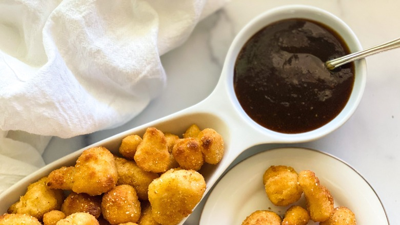 Copycat McDonald's Szechuan Sauce in a bowl with nuggets
