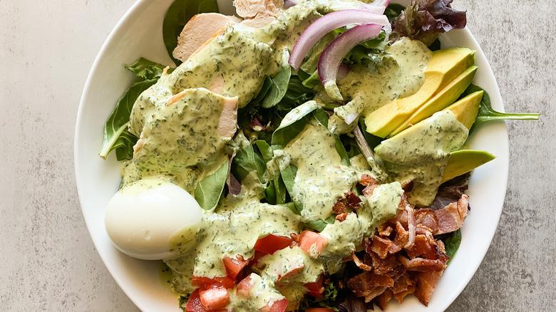 Copycat Panera Bread Green Goddess Cobb Salad in bowl