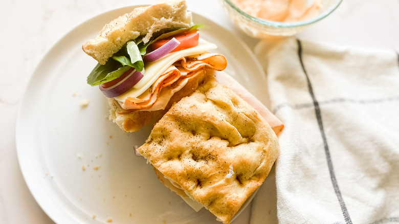 A Copycat Panera Bread Toasted Frontega Chicken Sandwich on a plate
