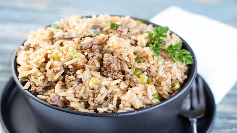Cajun rice in bowl