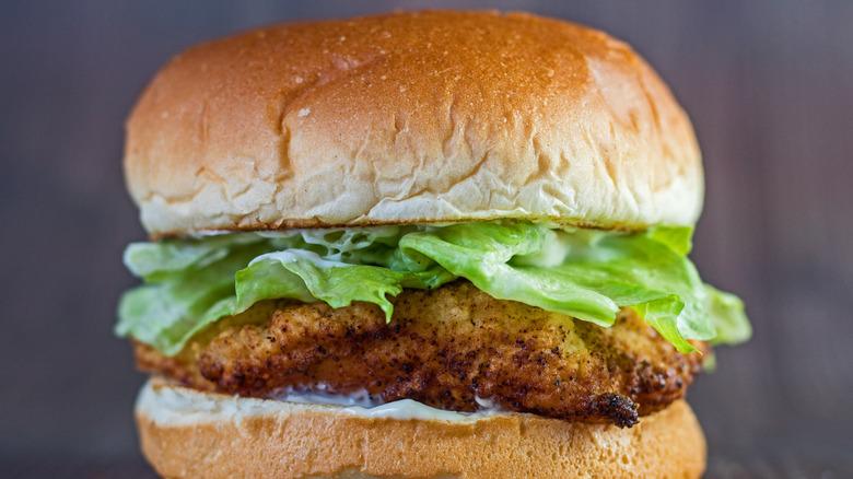 A crispy Copycat Wendy's Chicken Sandwich on a counter