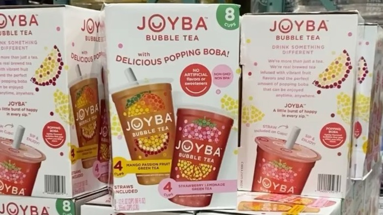 Stacked bubble tea boxes