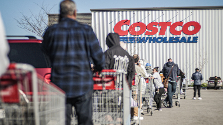 Line of shoppers outside Costco