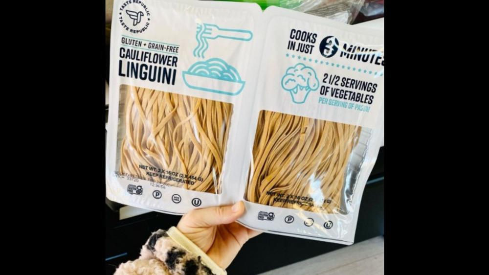 Two bags of Costco cauliflower linguini