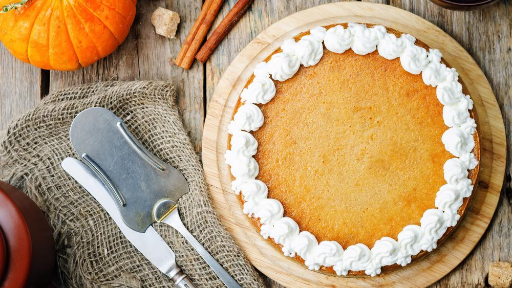 pumpkin cheesecake with whipped cream