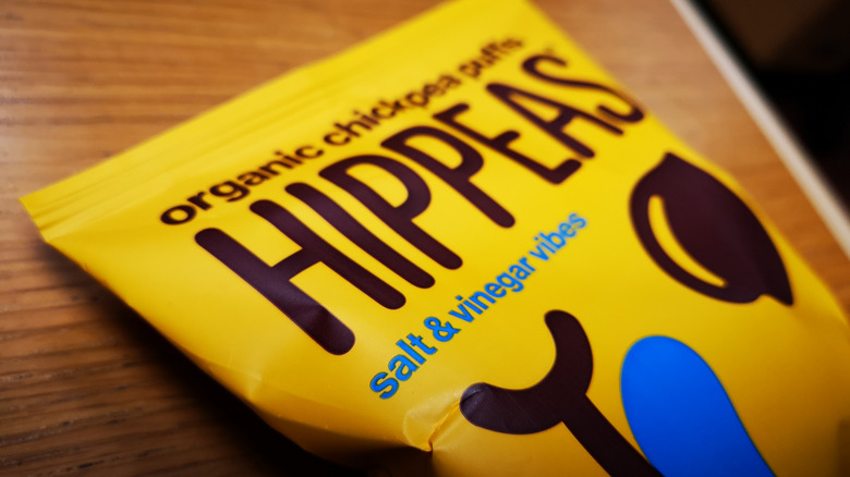 close-up of bag of Hippeas snacks