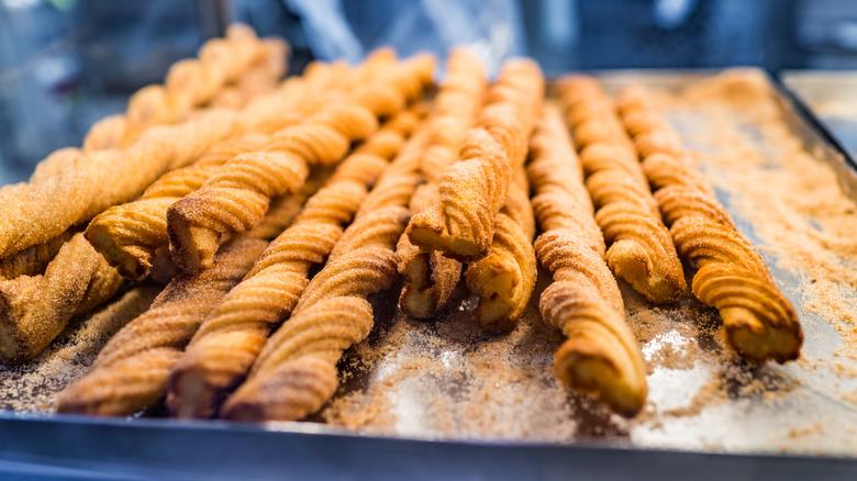 Twisted churros on tray